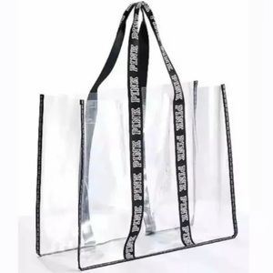 VS PINK Fashion Show Oversized Clear Tote Bag